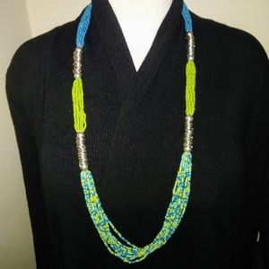 QVC long beaded multi strand statement necklace